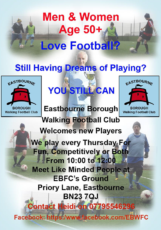 Eastbourne Borought Walking Football Club poster